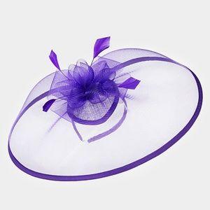 Purple Feather Fascinator Dressy Bow Net Church